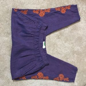 Crazy purple Anthropologie pants w/embroidery Sz S